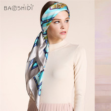 [BAOSHIDI]100% silk satin scarf,16m/m thick, Infinity Square Scarves women, Elegant brand ladies scarfs, Fashion shawl woman