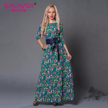 S.FLAVOR Brand Women casual Dress Russian Elegant Print long dress Spring Autumn dress vestido de festa dresses(China)