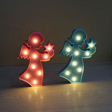 9 LED Angel Plastic Night Light 3D Marquee Desk Table Lamp Letter Lights Kids Room Decoration Pink/White/Blue Lamp S028(China)