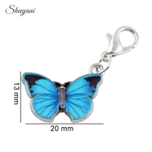 20PCS Fashion Oil Drop Charms with Lobster Clasp Alloy Enamel Butterfly Charms Pendant for DIY Bracelet Findings