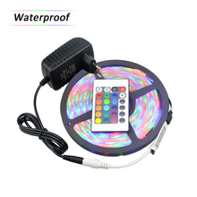 100% Waterproof 5 Meters SMD 3014 RGB LED Strip light 54LEDs/M + 24 Keys Remote Controller + 12V 3A Power Adapter EU US Plug