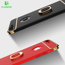 FLOVEME Case For iPhone 7 6s 6 Plus Luxury Metal Ring Holder Combo Phone Cover For iPhone7 Plus Hard Capa For Samsung Galaxy S8(China)