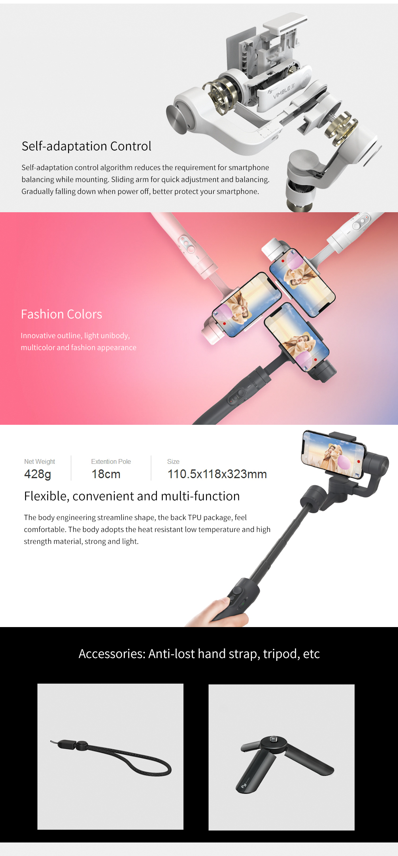 Feiyu vimble 2 Smartphone 3-Axis Handheld Gimbal Stabilizer bluetooth wireless selfie stick for iPhone X Gopro sjcam Smooth Q 6