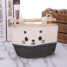 MAIOUMY  New Cotton Clothes bubm Cartoon Cat Hanging Storage Bag Flower basket storage Debris Pouch Wall Combination