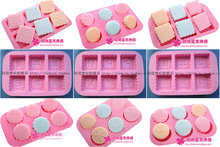 Wholesale /retail,free shipping,6 holeround / square Silicone moon cake mould  Soap Mold