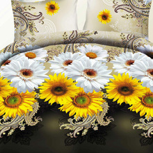 Home Textiles Good Quality! 3d Sunflower Flowers Bedding Set 3- 4pcs Queen/Full Size Cartoon Family Bed Set Free SHIPPING BS77
