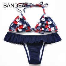 BANDEA 2017 Swimwear Bikini Halter Swimsuit Ruffle Soft cup Sexy Wire Free Plus Size Swimsuit Beach Low Waist Print Swimwear