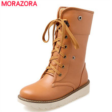 Pu soft leather fashion boots women shoes lace up button solid platform shoes flat shoes warm mid calf boots winter plus size 43