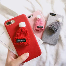 Fur Ball Plush 3D Hat Phone Case for iphone 6 6s 7 8 plus Christmans gift phone cases for iPhone 6 6s plus Luxury Back Cover Bag(China)
