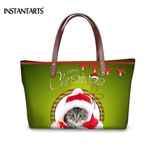 INSTANTARTS Red Hat Cat Print Women Large Tote Bags for Ladies Shopping Brand Design Shoulder Bag Christmas Gift Top Handle Bag(China)