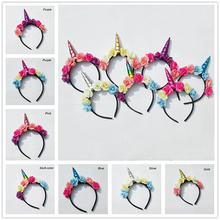 1PC Children Unicorn Horns Headband for Girls And Kids 2017 Padded Unicorn Headband Hair Accessories Flowers DIY Party