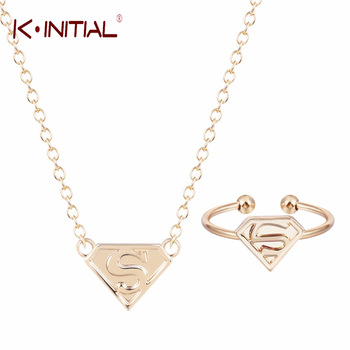 Kinitial Cute Triangle Ring Super S Necklace Chunky Chain Necklace Pendant Stocking Stuffer Presents Cute Charm Jewelry Sets