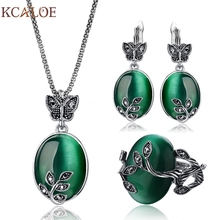 KCALOE Big Natural Stone Green Opal Jewelry Sets Antique Black Crystal Rhinestone Leaf Pendant &Necklace Earrings Ring Set(China)