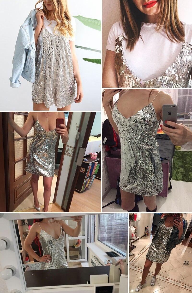 BerryGo Sexy silver sequin women dress Deep v neck sleeveless short dress Elegant evening party dresses casual summer vestidos 7