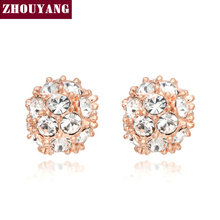 Top Quality ZYE381 Lucky Ball Crystal Rose Gold Color Stud Earrings Jewelry Austrian Crystal Wholesale(China)