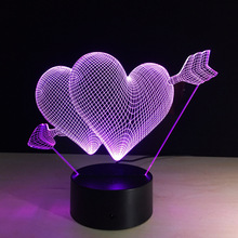 Remote control 3D stereo LED colorful Night light USB lamp hot creative Valentine's Day gift furniture An arrow through a heart