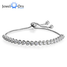 Tennis Bracelets For Women Heart Cubic Zirconia Silver Color  Adjustable Blacelets & Bangles Friend Gift (JewelOra BA101863)