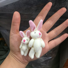 10pcs Mini Rabbit Plush Toy White Jointed Mini Bunny DIY Accessory Doll 5CM 7CM(China)