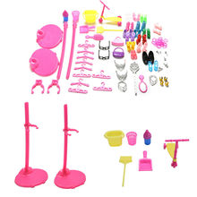 Lovely 1 Set Shoes Bag Mirror Hanger Comb Furniture For Barbie Dolls Accessories Set for Barbie Toys Child Gifts For Girls