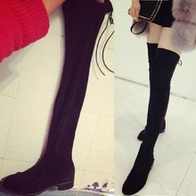 Stretch Fabric Thigh High Boots High Quality Women Over-the-Knee Boots Black Big Size Sexy Women Long Boots X998 35