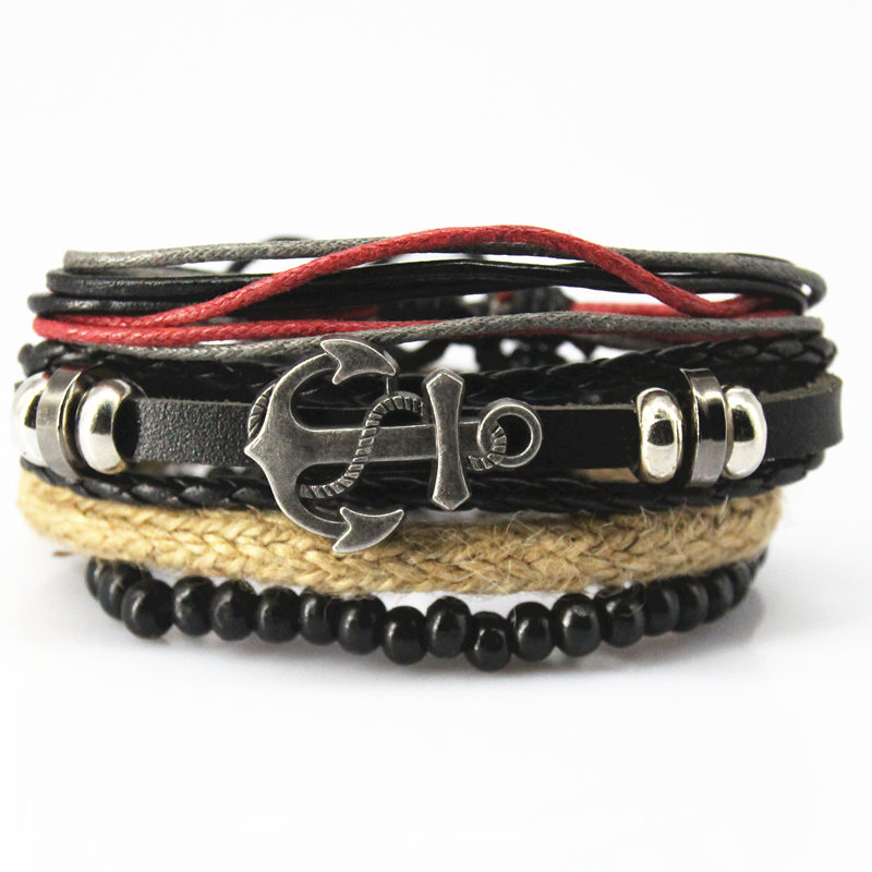 4 PCS/SET Punk Turkish Anchor Bracelets Women Men Beads Wristband Cuff Leather Bracelet Ethnic Vintage Jewelry Bijouterie