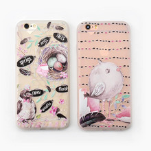 Painting Bird Series Scrub TPU Case For iphone 7 7plus Soft Silicone Back Cover For Apple iphone 6 6s plus Bird's Nest Shell(China)