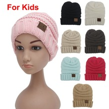 2pcs/lot Children solid 8 colors Skullies Crochet Beanies with Letter CC tag Kids hats Winter keep warm head cap Boys&girl N726(China)