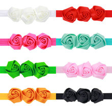 8pcs/pack Girls Triple Rolled Satin Rose Flower Headband Black White Red Green Pink etc.