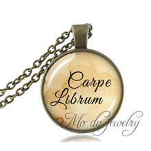 Carpe Librum Book Jewlery Inspiration Quote Pendant Book Lover Gift Librarian Necklace Glass Dome Library Jewelry Colar Feminino(China)
