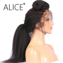ALICE Kinky Straight Glueless Full Lace Human Hair Wigs Pre Plucked 130 Density 8-24 Inch Remy Hair Brazilian Wig Bleached Knot(China)
