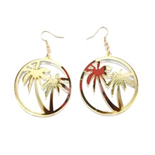 Coconut Palm Earrings Big Hollowed Circle Earrings Woman's Party Statement Earrings