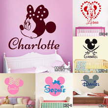 Personalized Name Lovely Cartoon Mickey Mouse Sticker Fashion Customized Home Decor Cute Mouse Car Stickers and Decals for Girls