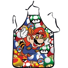 3D Funny Aprons Children Cartoon Super Mario Kitchen Apron Dinner Party Cooking Apron Cozinha Tablier Cuisine Pinafore Adult(China)