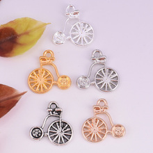 20pcs/lot 16x15mm gold color Mini Vehicles Wheelbarrow Acrobat props Charm DIY Metal Bracelet Necklace Jewelry Findings(China)