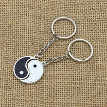 1Pair High Quality Stainless Steel China Yin Yang Black White Enamel Tai Chi Pendant Best Friend Couple Keychain Key Ring Holder