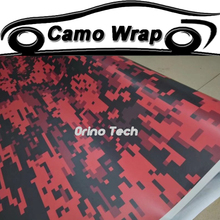 Matte/Glossy Finished Red Digital Camouflage Film Sticker Wrap Vinyl Adhesive Car Styling Wraps Motorcycle Scooter Decal