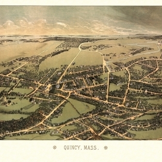 Old Map of Quincy Massachusetts 1878 Norfolk County Poster Print (36 x 54)
