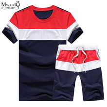 Mwxsd brand men summer short sets T Shirts+Shorts boys O-Neck Tshirt stripe Sportsuit Set casual short sleeve T-shirt size M-3XL