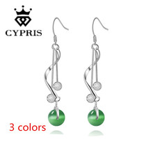 SALE Hot Promotion silver Fashion Earrings beads ball opal stone 3 colors women lady hot factory price CYPRIS