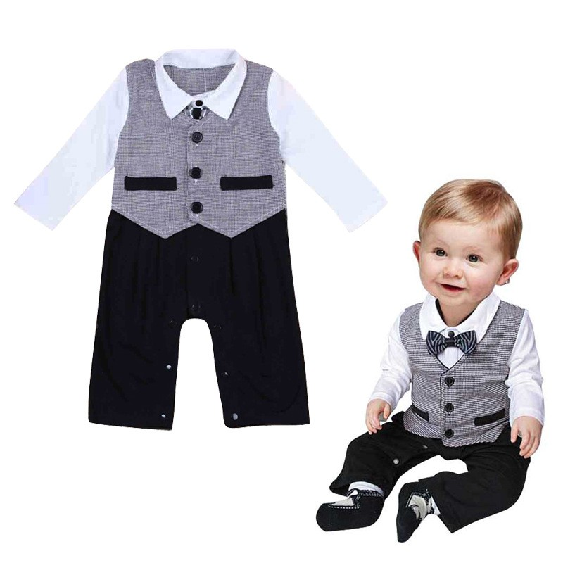Baby Clothes 2017 Brand Gentleman Rompers Toddler Infant Boys Short Sleeve Jumpsuit Romper Party