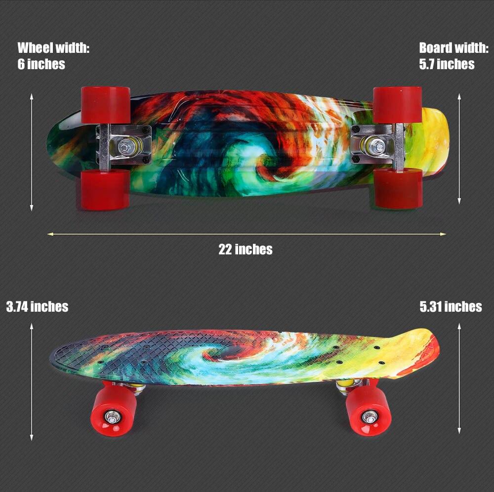 22 inch Printing Pattern Four-wheel Long Skateboard PP Board Deck