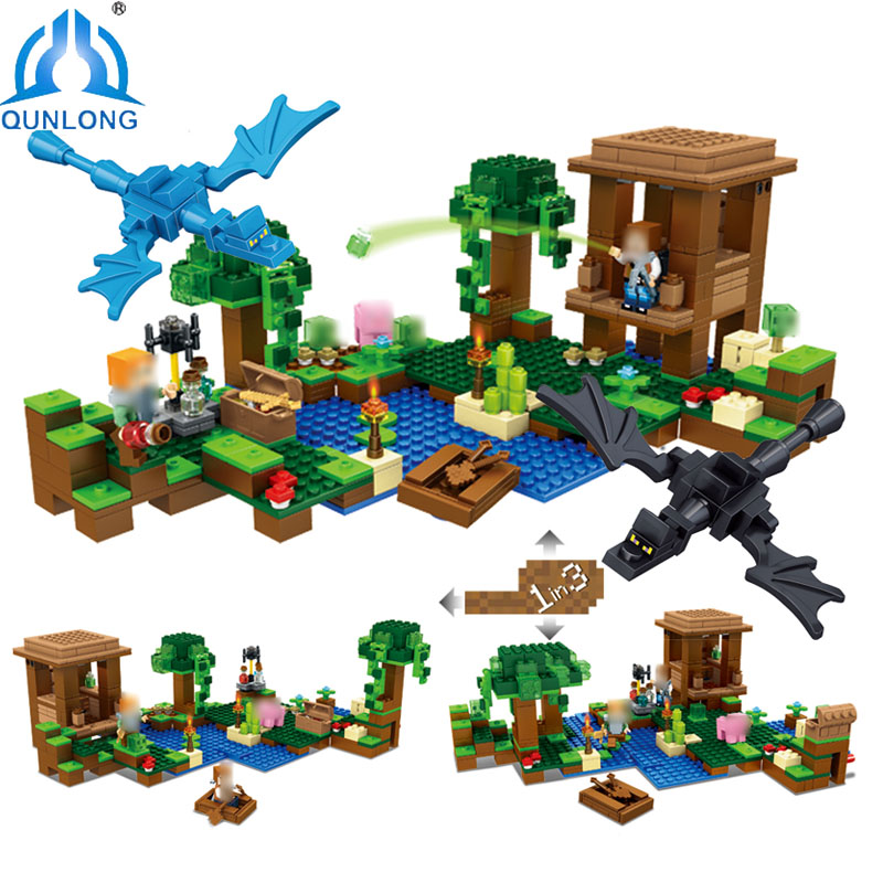 Qunlong Blocks Compatible Legoe Minecrafte City Witch Hut With Dragon Building Blocks Enlighten Figures Bricks Classic Children<br>