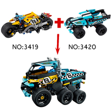 2set/lot Decool Technic 2in1 Stunt Truck Stunt Bike Building Block Pullback Car Brick Compatible With Lego 42058 42059(China)
