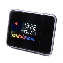 Digital Weather LCD Screen Wall Projection Snooze Alarm Clock Color LED Display