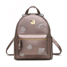 Mori Printing Flower Design Women PU Leather Small Backpack Multifunction Casual Lady Bag Trend Daypack Black