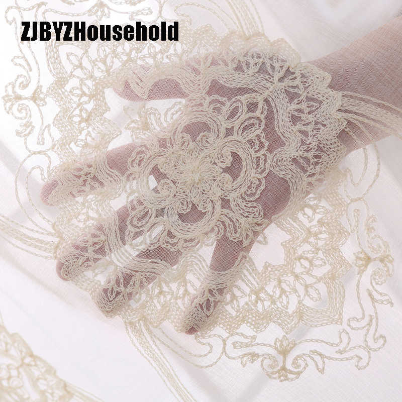 European Cotton Embroidery Curtain Shading Tulles for Living Dining Room Bedroom
