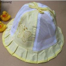 Cute Baby Kids Butterfly Bow Basin Cap Pots Hat Cotton Visor Cap Baby Care wholesale