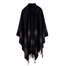 2017 Autumn Winter Women Knitted Poncho Cape Hooded Stripe Oversized Cardigan Sweater Long Shawl Scarf Cashmere Pashmina Fashion