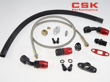 T3 T4 T3/T4 T70 T66 TO4E Turbo Oil Feed Line Oil Return Line Oil Drain Line Kit black and red