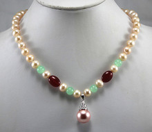 party jewelry 8mm yellow shell pearl bead mixed green/red jades necklace match 12mm pink shell pearl pendant necklace